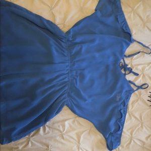 Blue ruffled romper